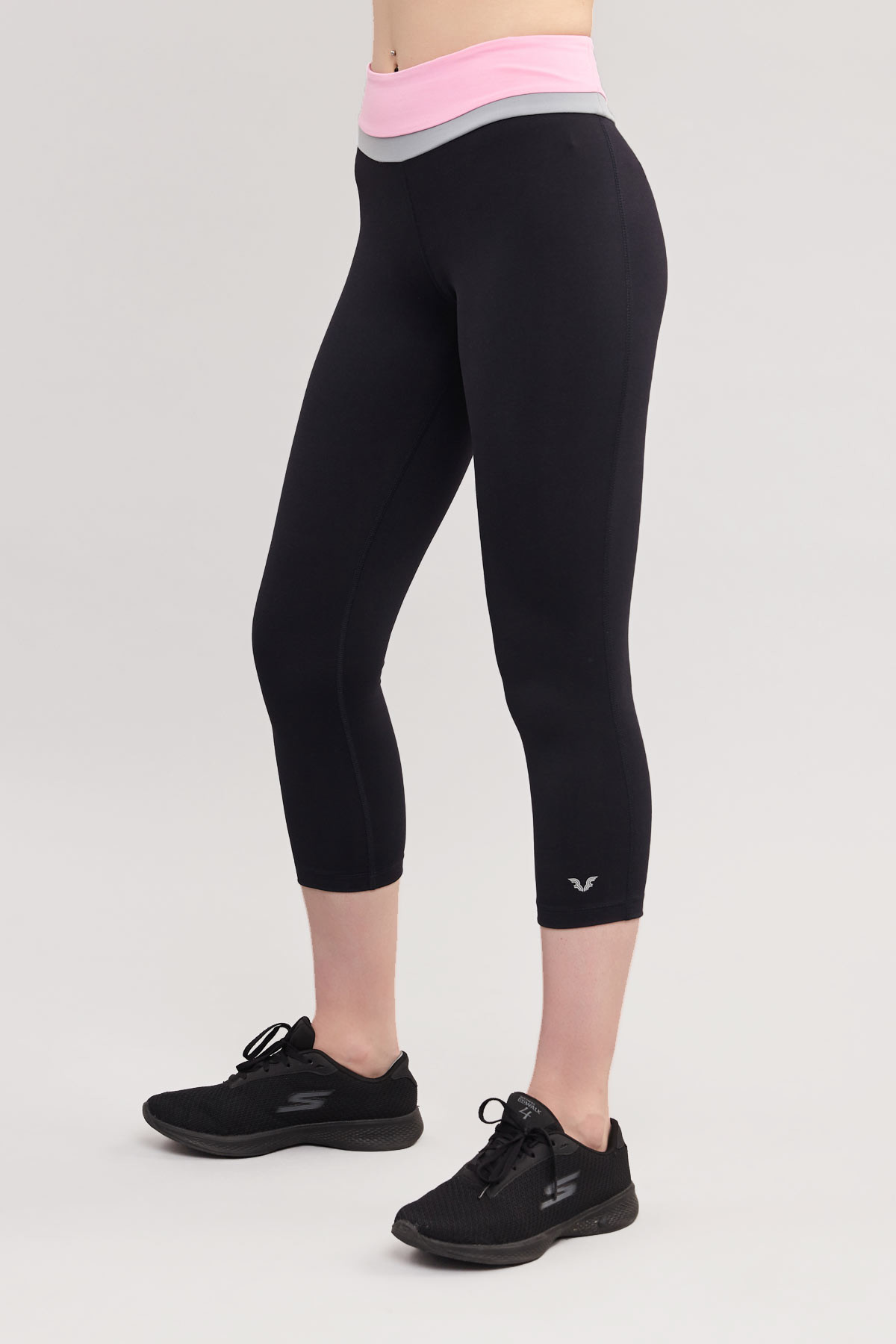 Bilcee Siyah 3/4 Kısa Sporcu Kadın Taytı BS-7118 BİLCEE
