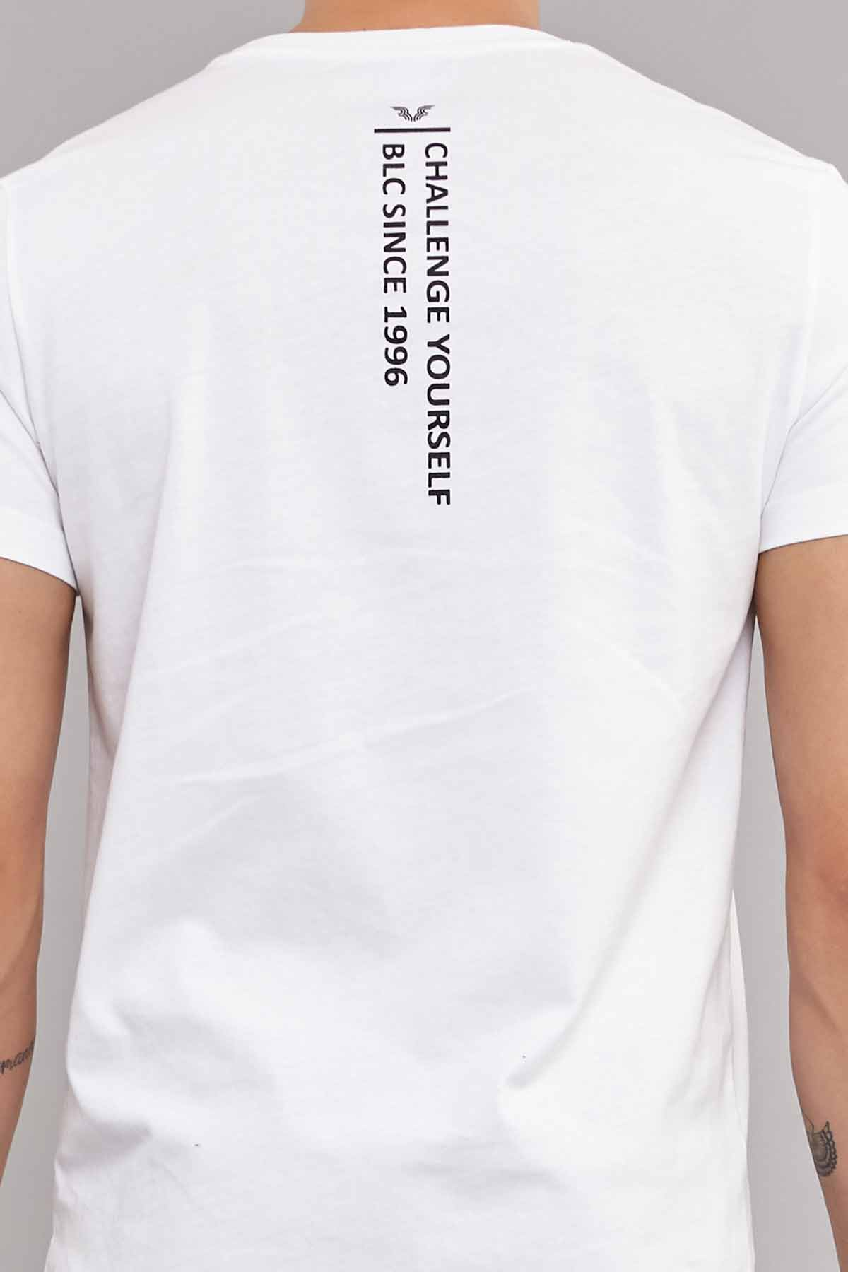 Bilcee Beyaz Pamuklu Erkek T-Shirt DW-2220 BİLCEE