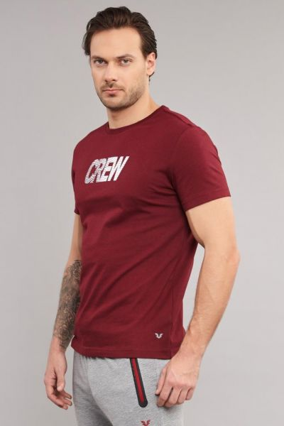 BİLCEE - Bilcee Bordo Pamuklu Erkek T-Shirt DW-2220 (1)