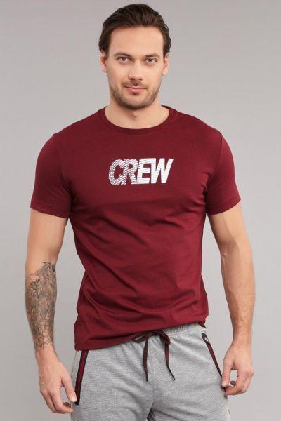 BİLCEE - Bilcee Bordo Pamuklu Erkek T-Shirt DW-2220