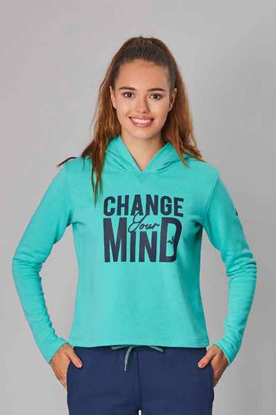 BİLCEE - Bilcee Mavi Kışlık Kadın Sweatshirt DW-2860