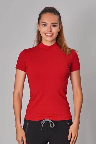 BİLCEE - Bilcee Kırmızı Likralı Pamuklu Kadın T-Shirt DW-2866