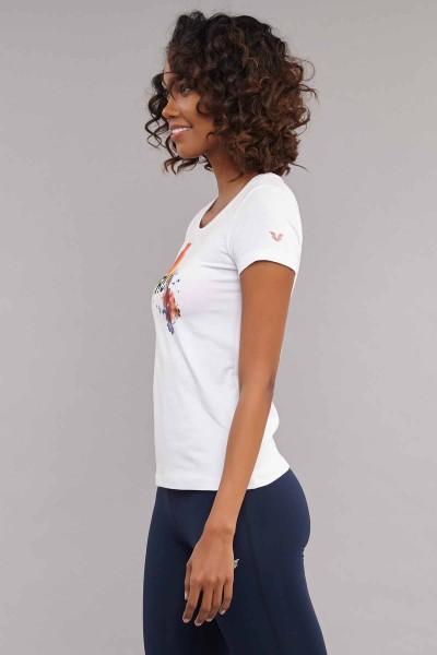 BİLCEE - Bilcee Beyaz Likralı Pamuklu Kadın T-Shirt ES-3526 (1)