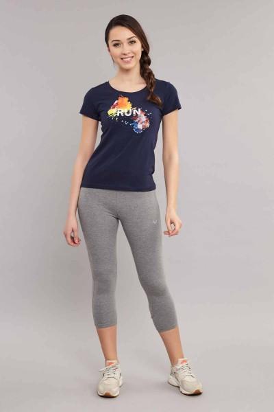 BİLCEE - Bilcee Lacivert Likralı Pamuklu Kadın T-Shirt ES-3526 (1)
