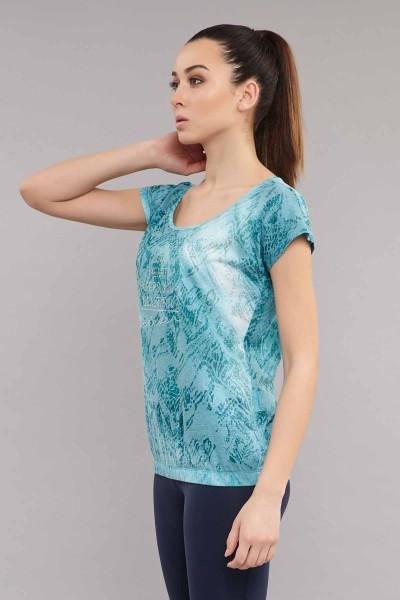 BİLCEE - Bilcee Mavi Likralı Pamuklu KadınT-Shirt ES-3571