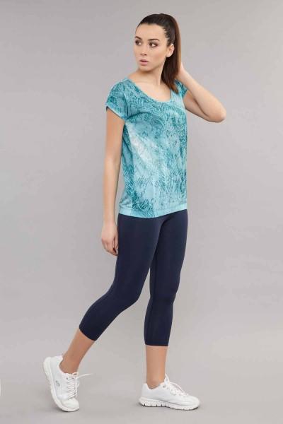 BİLCEE - Bilcee Mavi Likralı Pamuklu KadınT-Shirt ES-3571 (1)