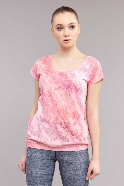 BİLCEE - Bilcee Pembe Likralı Pamuklu Kadın T-Shirt ES-3571