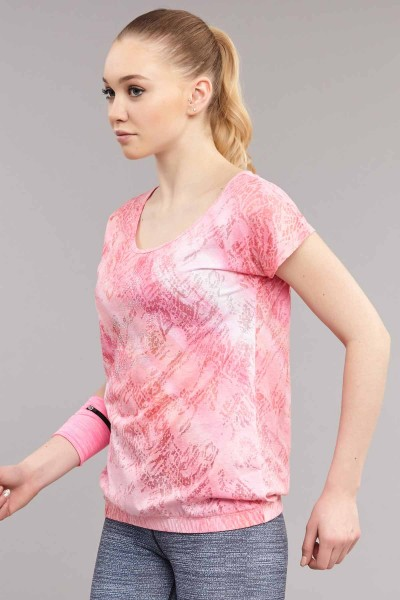 BİLCEE - Bilcee Pembe Likralı Pamuklu Kadın T-Shirt ES-3571 (1)