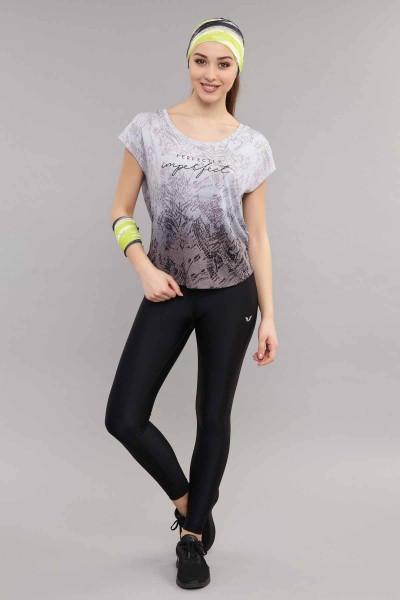 BİLCEE - Bilcee Siyah Pamuk/Poly Kadın T-Shirt ES-3572 (1)
