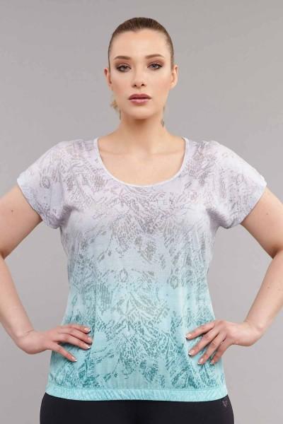 BİLCEE - Bilcee Mavi Büyük Beden Pamuk/Poly Kadın T-Shirt ES-3586