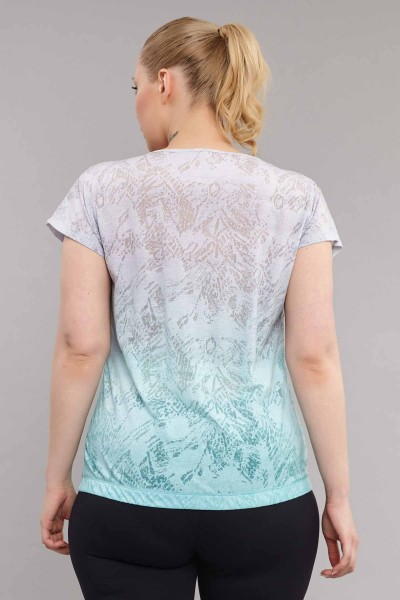 BİLCEE - Bilcee Mavi Büyük Beden Pamuk/Poly Kadın T-Shirt ES-3586 (1)