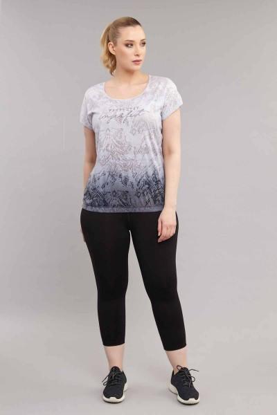BİLCEE - Bilcee Büyük Beden Pamuk/Poly Kadın T-Shirt ES-3586 (1)