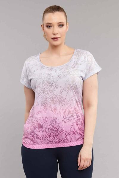 BİLCEE - Bilcee Pembe Büyük Beden Pamuk/Poly Kadın P T-Shirt ES-3586