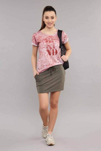 BİLCEE - Bilcee Pembe Pamuk/Poly Kadın T-Shirt ES-3592 (1)