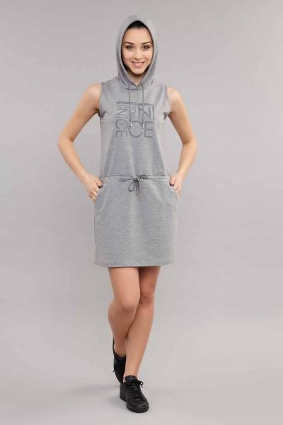 BİLCEE - Bilcee Gri Viskon Kadın Elbise ES-3602