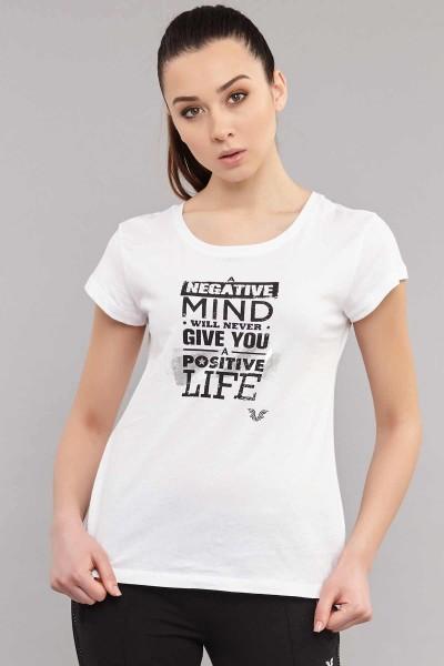 BİLCEE - Bilcee Beyaz Pamuklu Kadın T-Shirt ES-3613