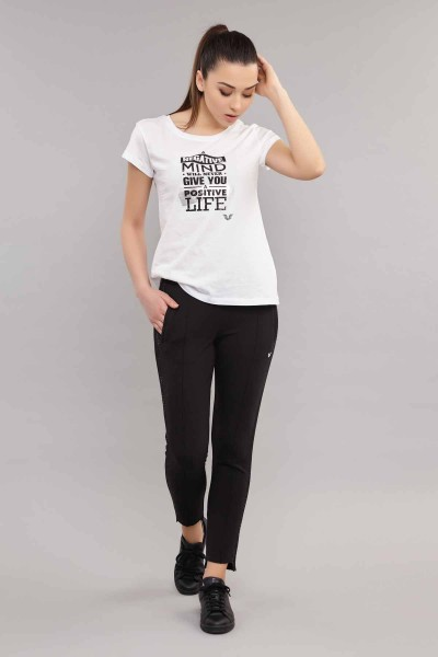 BİLCEE - Bilcee Beyaz Pamuklu Kadın T-Shirt ES-3613 (1)