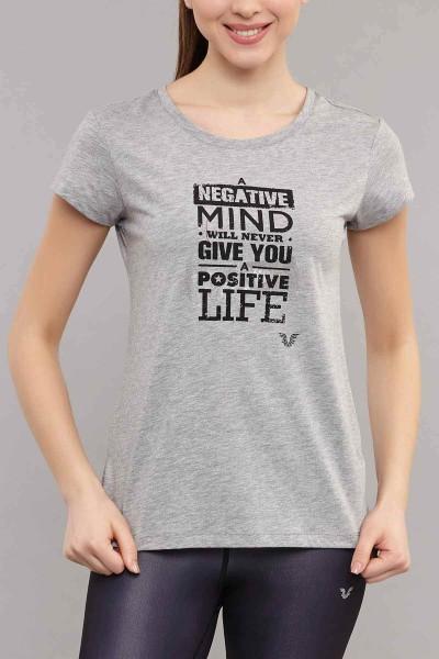BİLCEE - Bilcee Gri Pamuklu Kadın T-Shirt ES-3613