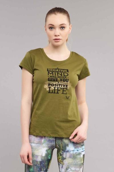 BİLCEE - Bilcee Yeşil Pamuklu Kadın T-Shirt ES-3613