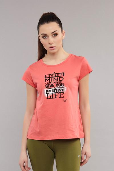 BİLCEE - Bilcee Pembe Pamuklu KadınT-Shirt ES-3613