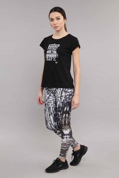 BİLCEE - Bilcee Siyah Pamuklu Kadın T-Shirt ES-3613 (1)