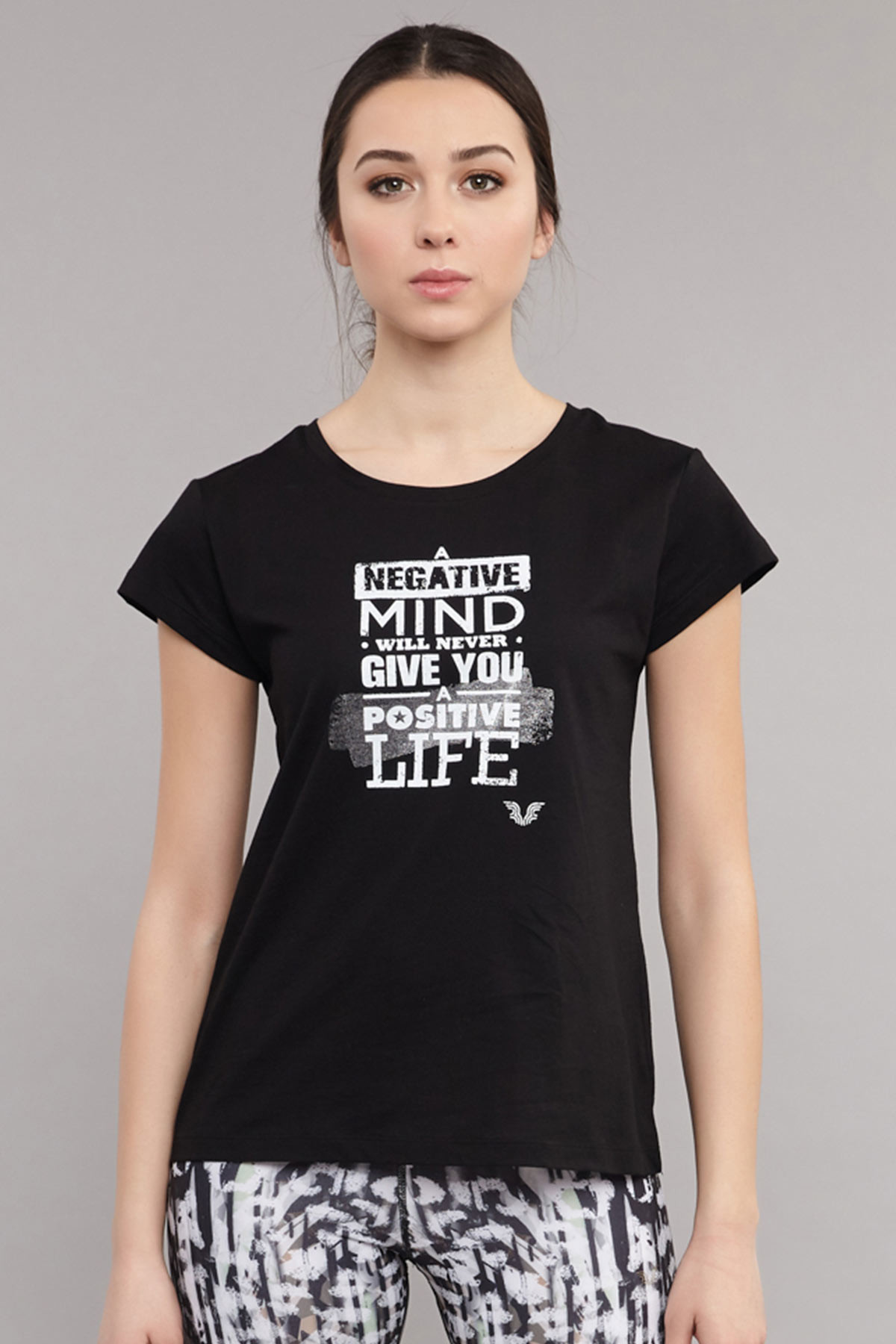 Bilcee Siyah Pamuklu Kadın T-Shirt ES-3613 BİLCEE