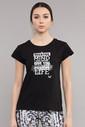 Bilcee Siyah Pamuklu Kadın T-Shirt ES-3613 - Thumbnail