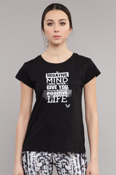BİLCEE - Bilcee Siyah Pamuklu Kadın T-Shirt ES-3613