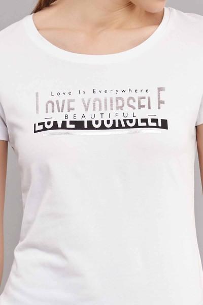 BİLCEE - Bilcee Kadın Likralı Pamuklu T-Shirt ES-3614 (1)