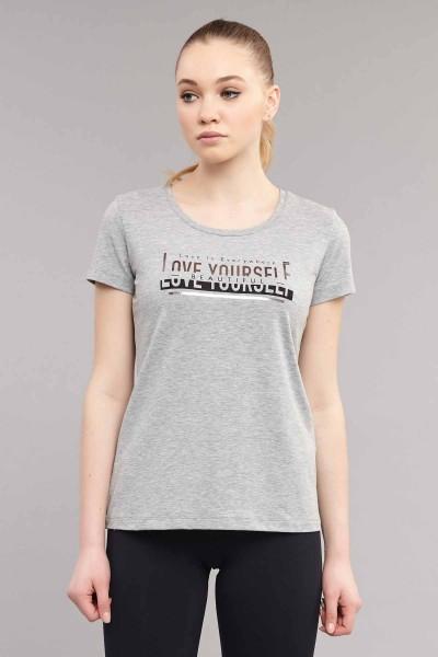 BİLCEE - Bilcee Gri Likralı Pamuklu Kadın T-Shirt ES-3614