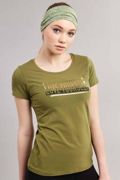 BİLCEE - Bilcee Yeşil Likralı Pamuklu Kadın T-Shirt ES-3614