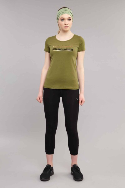 BİLCEE - Bilcee Yeşil Likralı Pamuklu Kadın T-Shirt ES-3614 (1)