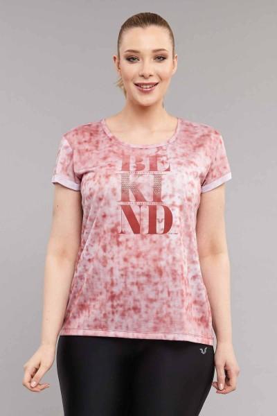 BİLCEE - Bilcee Pembe Büyük Beden Kadın Antrenman T-Shirt ES-3636