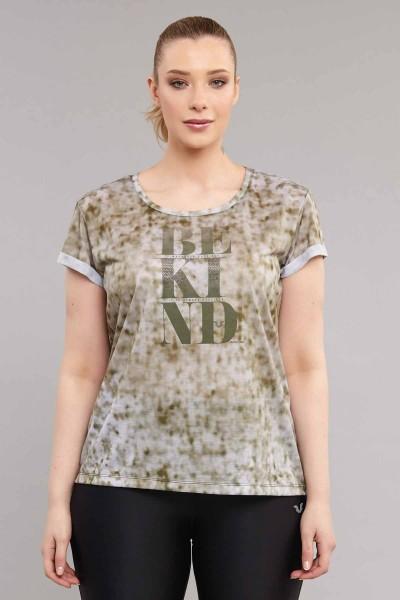 BİLCEE - Bilcee Kahverengi Büyük Beden Kadın Antrenman T-Shirt ES-3636