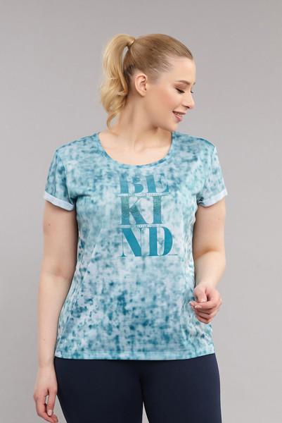 BİLCEE - Bilcee Mavi Büyük Beden Kadın Antrenman T-Shirt ES-3636