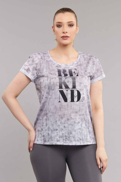 BİLCEE - Bilcee Gri Büyük Beden Kadın Antrenman T-Shirt ES-3636