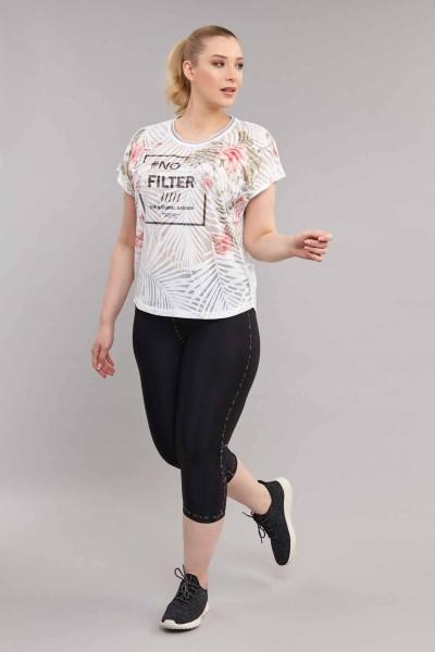BİLCEE - Bilcee Büyük Beden Pamuk/Poly Kadın T-Shirt ES-3637 (1)