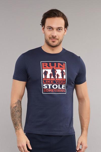 BİLCEE - Bilcee Lacivert Pamuklu Erkek T-Shirt ES-3806