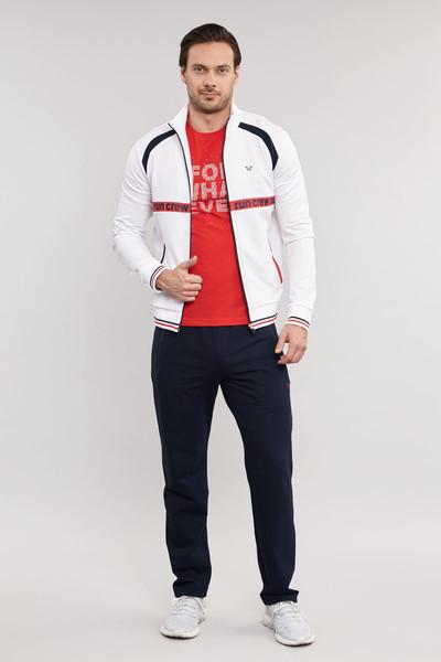 BİLCEE - Bilcee Beyaz Pamuk/Poly Erkek Eşofman Üstü ES-3818 (1)