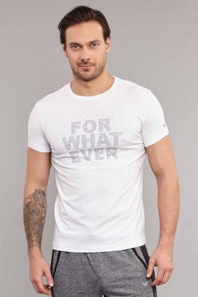 BİLCEE - Bilcee Beyaz Likralı Pamuklu Erkek T-Shirt ES-3828