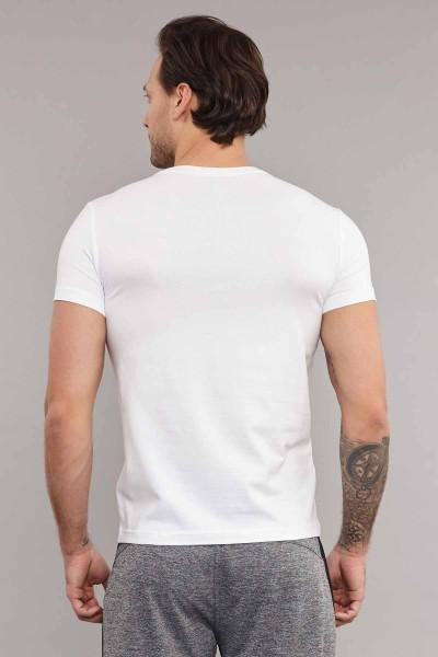 BİLCEE - Bilcee Beyaz Likralı Pamuklu Erkek T-Shirt ES-3828 (1)