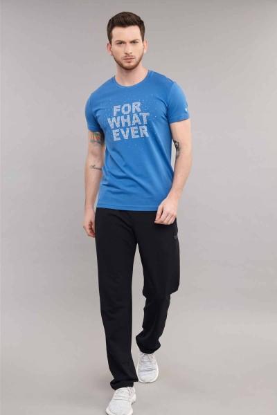 BİLCEE - Bilcee Mavi Likralı Pamuklu Erkek T-Shirt ES-3828 (1)
