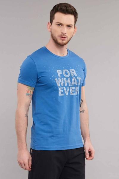 BİLCEE - Bilcee Mavi Likralı Pamuklu Erkek T-Shirt ES-3828