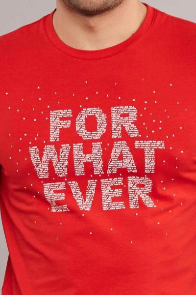 BİLCEE - Bilcee Kırmızı Likralı Pamuklu Erkek T-Shirt ES-3828 (1)