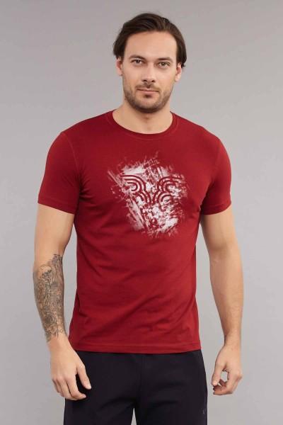 BİLCEE - Bilcee Bordo Likralı Pamuklu Erkek T-Shirt ES-3840