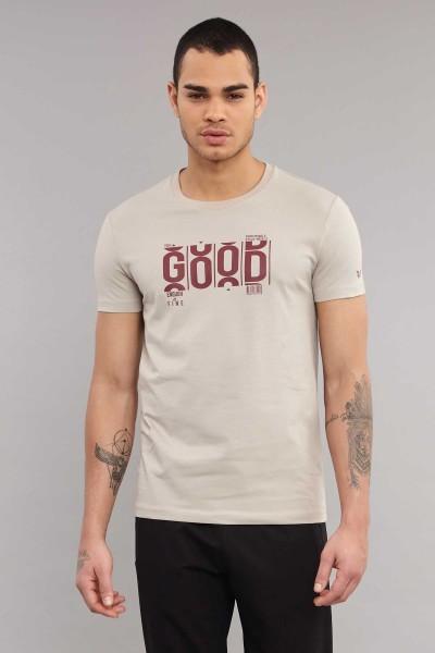 BİLCEE - Bilcee Krem Pamuklu Erkek T-Shirt ES-3841