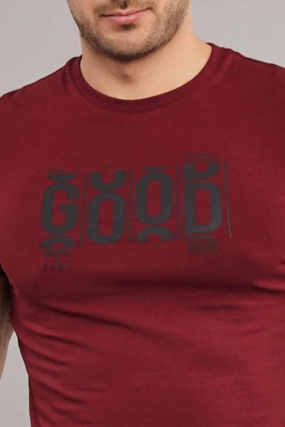 BİLCEE - Bilcee Bordo Pamuklu Erkek T-Shirt ES-3841 (1)