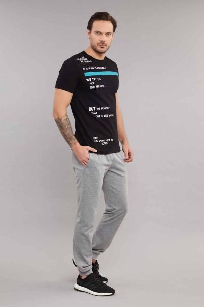 BİLCEE - Bilcee Siyah Pamuklu Erkek T-Shirt ES-3875 (1)