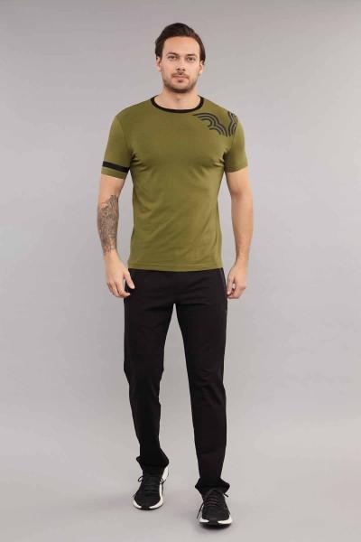 BİLCEE - Bilcee Yeşil Pamuklu Erkek T-Shirt ES-3882 (1)