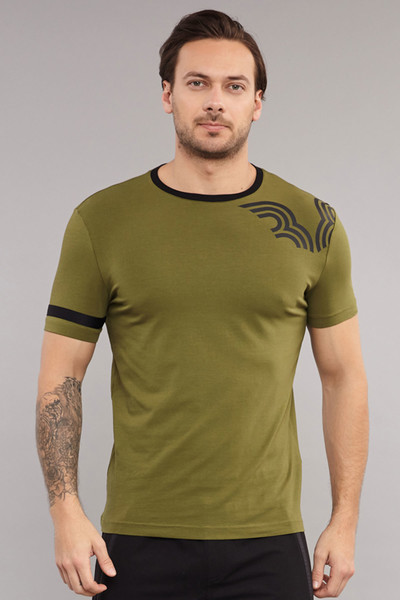 BİLCEE - Bilcee Yeşil Pamuklu Erkek T-Shirt ES-3882